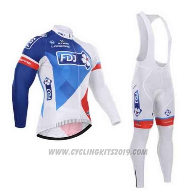 2015 Cycling Jersey FDJ White and Blue Long Sleeve and Bib Tight
