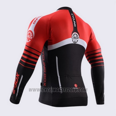 2015 Cycling Jersey Fox Cyclingbox Black and Red Long Sleeve and Bib Tight