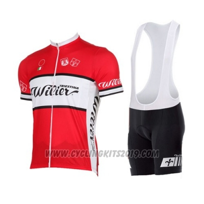 2015 Cycling Jersey Wieiev White Red Short Sleeve and Bib Short