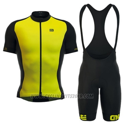 2016 Cycling Jersey ALE Yellow and Black Short Sleeve and Bib Short