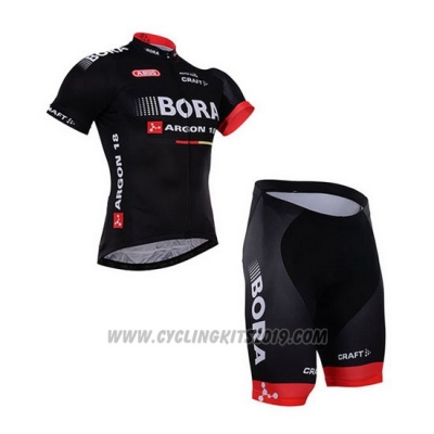 2016 Cycling Jersey Bora Black Short Sleeve and Bib Short