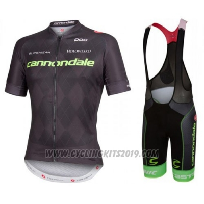 2016 Cycling Jersey Cannondale Black Short Sleeve and Bib Short