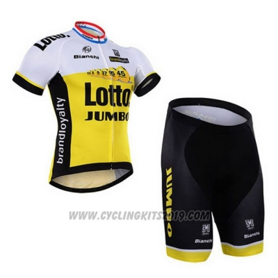 2016 Cycling Jersey Lotto NL Jumbo White and Yellow Short Sleeve and Bib Short