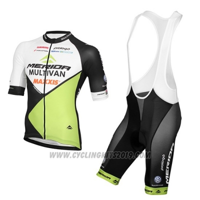 2016 Cycling Jersey Multivan Merida Green and White Short Sleeve and Bib Short