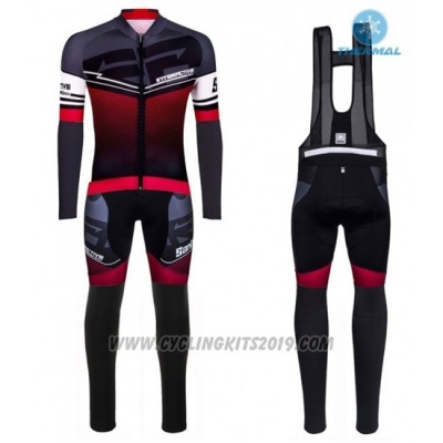 2016 Cycling Jersey Santini Red and Gray Long Sleeve and Bib Tight