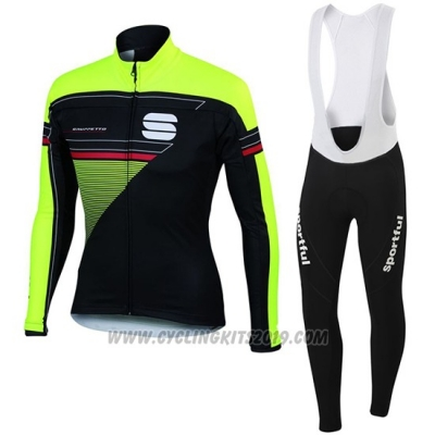 2016 Cycling Jersey Sportful Green and Black Long Sleeve and Bib Tight