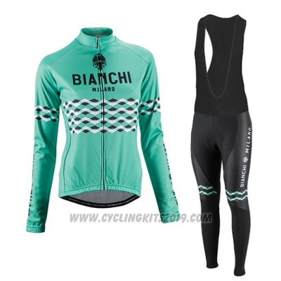 2016 Cycling Jersey Women Bianchi Black and Green Long Sleeve and Bib Tight
