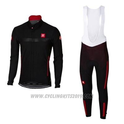 2017 Cycling Jersey Castelli Black Long Sleeve and Bib Tight