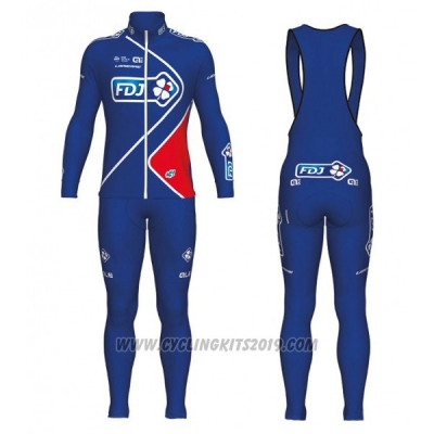 2017 Cycling Jersey FDJ Blue Long Sleeve and Bib Tight