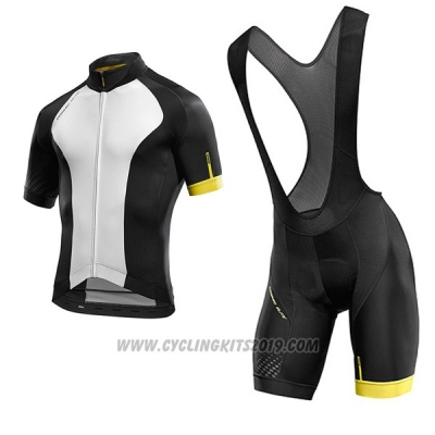 2017 Cycling Jersey Mavic White and Black Short Sleeve and Bib Short