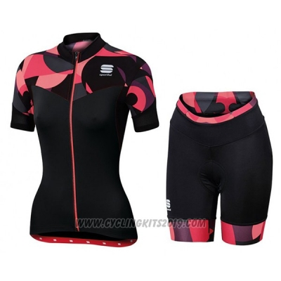 2017 Cycling Jersey Sportful Primavera Black and Red Short Sleeve and Bib Short