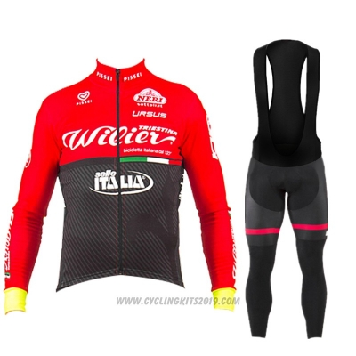 2017 Cycling Jersey Wieiev Red Long Sleeve and Bib Tight