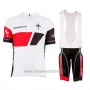 2017 Cycling Jersey Wieiev White Short Sleeve and Bib Short