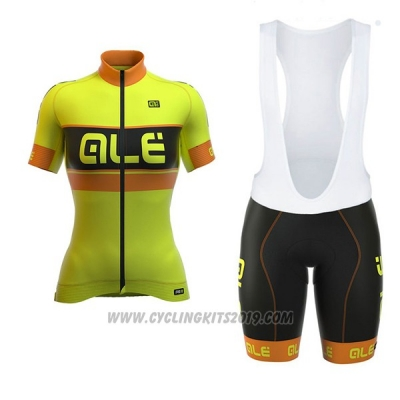 2017 Cycling Jersey Women ALE Graphics Prr Bermuda Yellow Short Sleeve and Bib Short