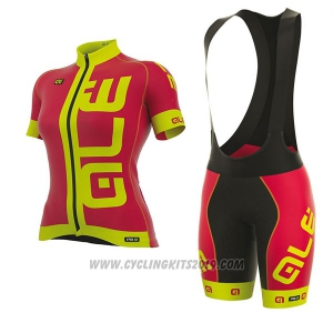 2017 Cycling Jersey Women ALE Prr Arcobaleno Red and Yellow Short Sleeve and Bib Short