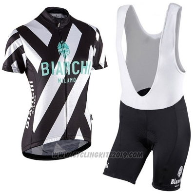 2017 Cycling Jersey Women Bianchi Black and White Short Sleeve and Bib Short