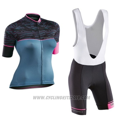 2017 Cycling Jersey Women Northwave Black and Blue Short Sleeve and Bib Short