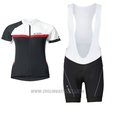 2017 Cycling Jersey Women Vaude White and Black Short Sleeve and Bib Short