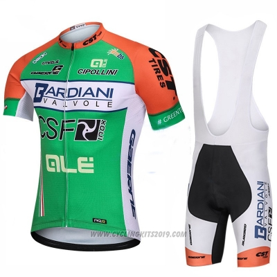 2018 Cycling Jersey Bardiani Csf Green Short Sleeve Bib Short