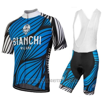 2018 Cycling Jersey Bianchi Caina Blue Short Sleeve and Bib Short