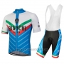 2018 Cycling Jersey Bianchi Tiera White and Blue Short Sleeve and Bib Short