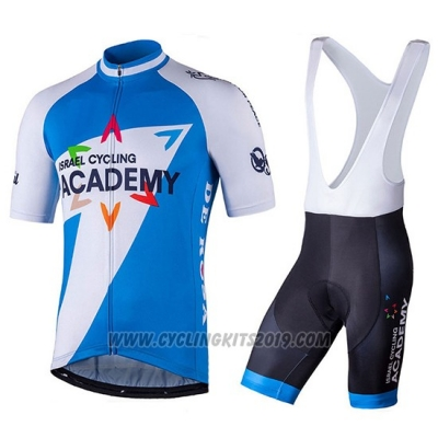 2018 Cycling Jersey Israel Cycling Academy White and Blue Short Sleeve and Salopette