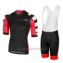 2018 Cycling Jersey RH+ Stratos Black Red Short Sleeve and Bib Short