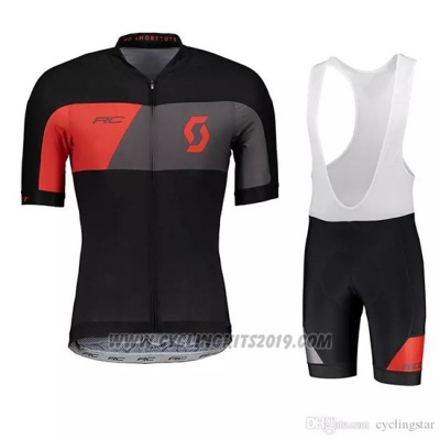 2018 Cycling Jersey Scott Black Gray Short Sleeve and Bib Short