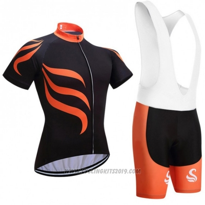 2018 Cycling Jersey Snovaky Black and Orange Short Sleeve and Bib Short