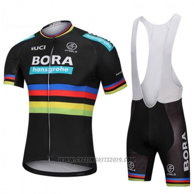 2018 Cycling Jersey UCI Mondo Campione Bora Black Short Sleeve and Bib Short
