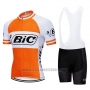 2019 Cycling Jersey Bic White Orange Short Sleeve and Bib Short