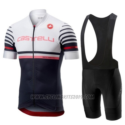 2019 Cycling Jersey Castelli Free AR 4.1 White Black Short Sleeve and Bib Short