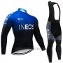 2019 Cycling Jersey Castelli Ineos Black Blue Long Sleeve and Bib Tight