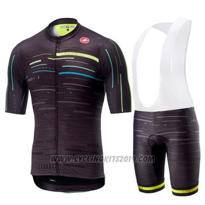 2019 Cycling Jersey Castelli Tabula Rasa Black Short Sleeve and Bib Short