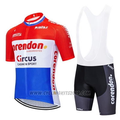 2019 Cycling Jersey Corendon Circo Red White Blue Short Sleeve and Bib Short