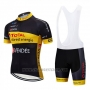2019 Cycling Jersey Direct Energie Black Yellow Short Sleeve and Bib Short