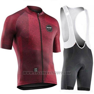 2019 Cycling Jersey Northwave Dark Red Short Sleeve and Bib Short