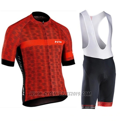 2019 Cycling Jersey Northwave Red Short Sleeve and Bib Short