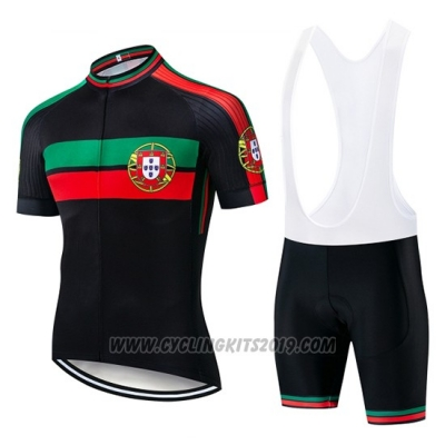 2019 Cycling Jersey Portugal Black Green Red Short Sleeve and Bib Short