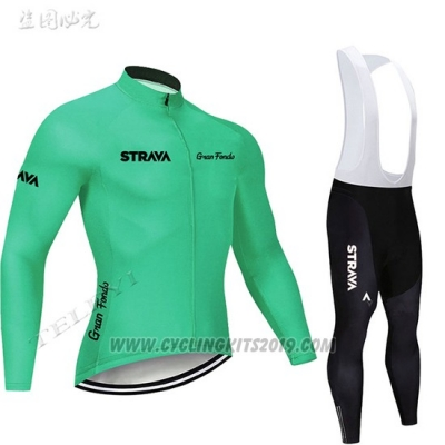 2019 Cycling Jersey STRAVA Green Long Sleeve and Bib Tight