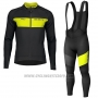 2019 Cycling Jersey Scott Rc Ff Yellow Black Long Sleeve and Bib Tight