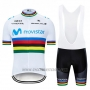2019 Cycling Jersey UCI World Champion Movistar White Blue Short Sleeve and Bib Short