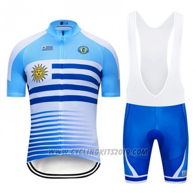 2019 Cycling Jersey Uruguay Blue White Short Sleeve and Bib Short