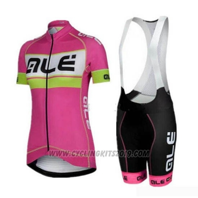 2019 Cycling Jersey Women ALE Pink Gray Short Sleeve and Bib Short