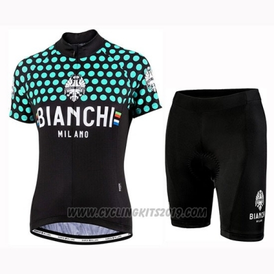 2019 Cycling Jersey Women Bianchi Dot Black Green Short Sleeve and Bib Short