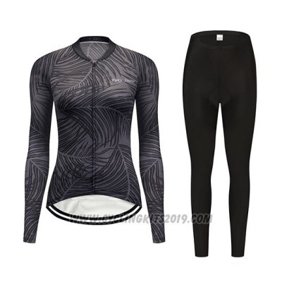 2019 Cycling Jersey Women Delle Gray Long Sleeve and Bib Tight