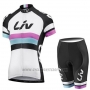 2019 Cycling Jersey Women Liv White Black Short Sleeve and Bib Short