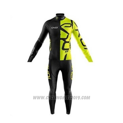 2020 Cycling Jersey EKOI Black Yellow Long Sleeve and Bib Tight