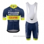 2020 Cycling Jersey Elkov-kasper Blue Yellow Short Sleeve and Bib Short