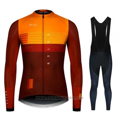 2020 Cycling Jersey NDLSS Marron Yellow Long Sleeve and Bib Tight